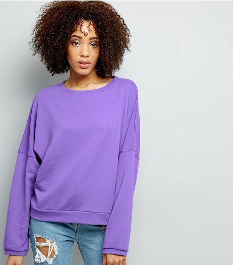 Purple Batwing Sleeve Oversized Sweater  | New Look