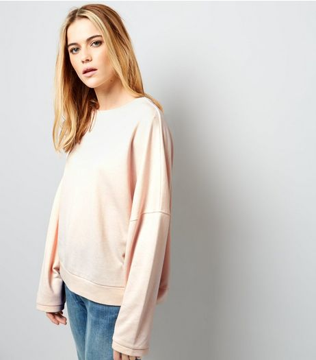Shell Pink Batwing Sleeve Oversized Sweater | New Look