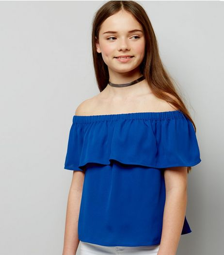 Teens Blue Frill Trim Bardot Neck Top | New Look
