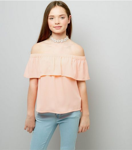 Teens Pink Frill Trim Bardot Neck Top | New Look