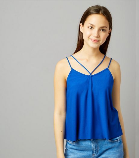 Teens Blue Double Strap Front Cami | New Look