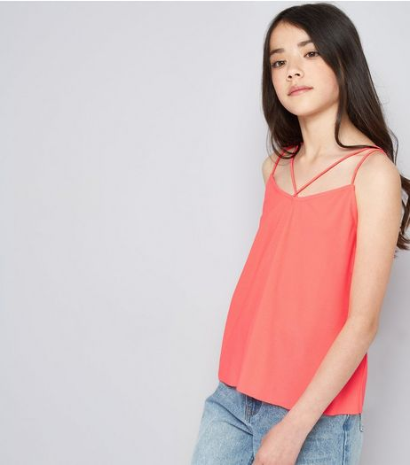 Teens Bright Pink Double Strap Front Cami | New Look