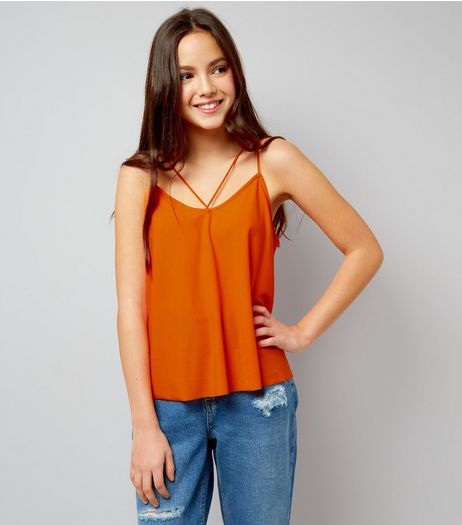 Teens Bright Orange Double Strap Front Cami | New Look