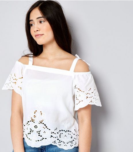 Teens White Broderie Bow Strap Cold Shoulder Top | New Look
