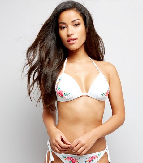 White Floral Embroidered Bead Tie Bikini Top | New Look