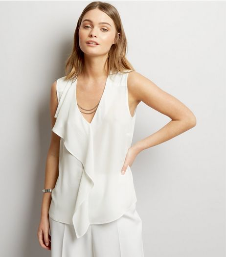 White Chain Trim Frill Shoulder Top | New Look