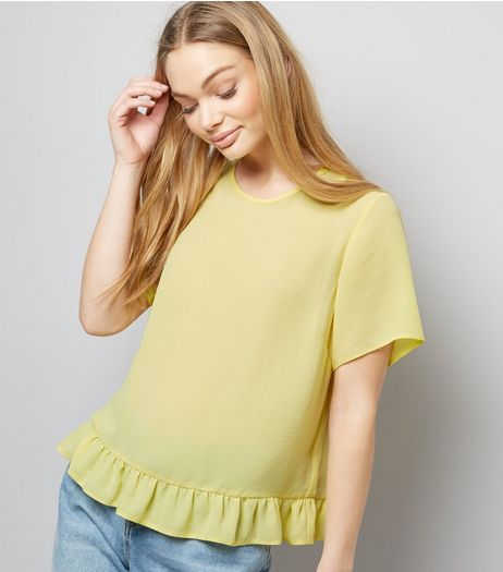 Yellow Frill Trim Peplum Hem T-Shirt  | New Look