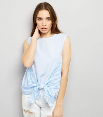 Blue Contrast Stripe Tie Front Top