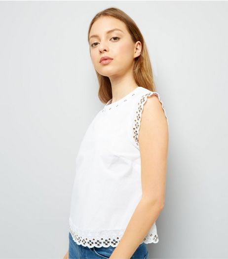 White Eyelet Trim Scallop Edge Top | New Look
