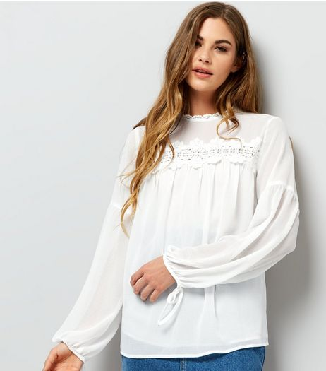 White Lace Trim Long Sleeve Top | New Look