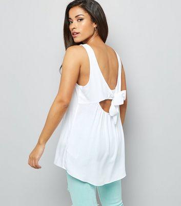 White Tie Back Sleeveless Top
