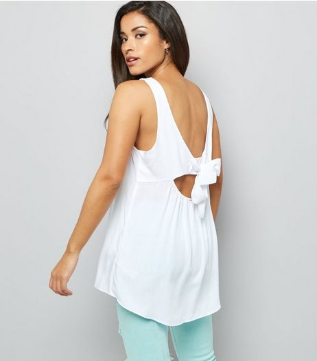 White Tie Back Sleeveless Top | New Look