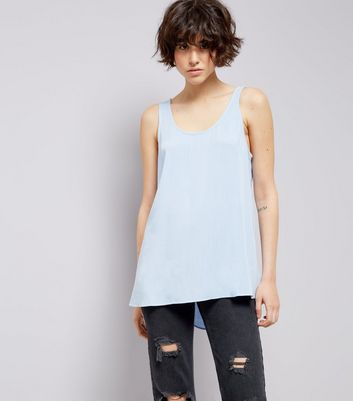 Blue Tie Back Sleeveless Top