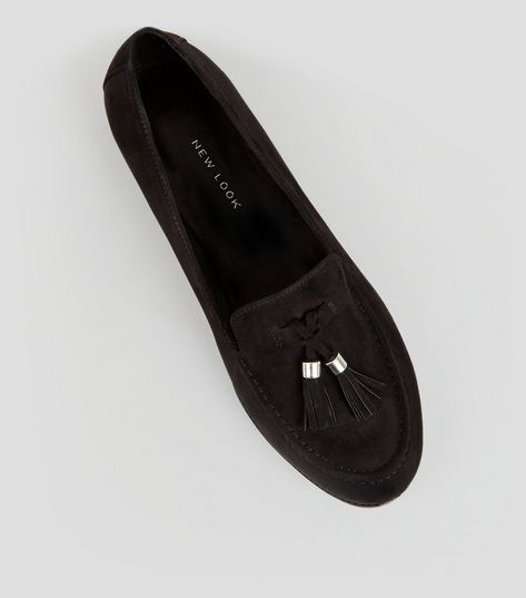 Wide Fit Black Suedette Tassel Front Loafers | New Look
