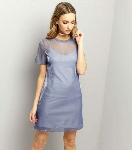 Blue Mesh Metallic 2 in 1 Dress  | New Look