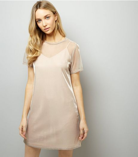 Pink Sheer Metallic 2 in 1 Dress  | New Look