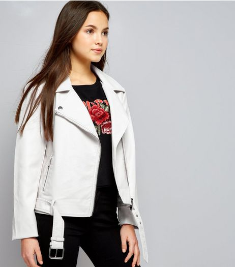Teens White Leather-Look Jacket | New Look