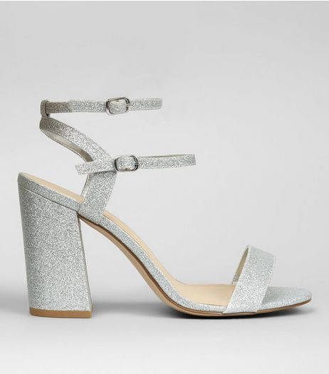 Wide Fit Silver Glitter Double Strap Heels | New Look