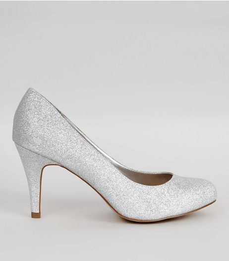 Wide Fit Silver Glitter Court Shoes | New Look