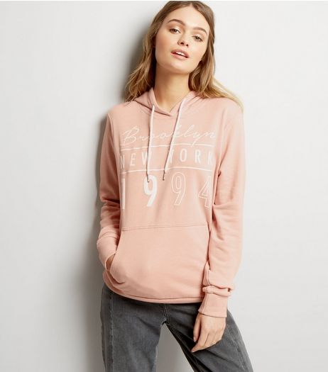 Cameo Rose Shell Pink Brooklyn Print Hoodie | New Look