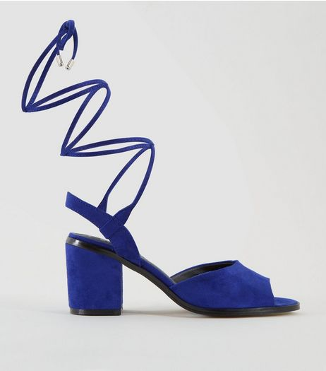 Teens Blue Suedette Ankle Tie Heels | New Look