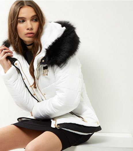 Cameo Rose White Contrast Faux Fur Trim Puffer Jacket | New Look