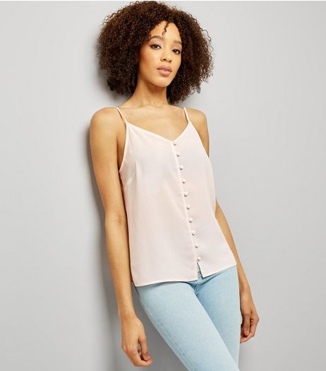 Shell Pink Button Front Cami Top | New Look