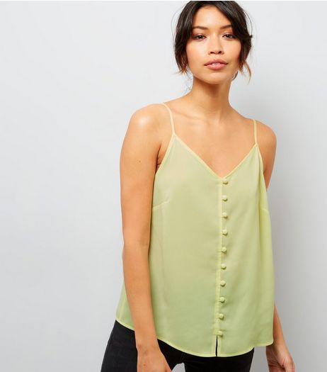 Yellow Button Front Cami Top | New Look
