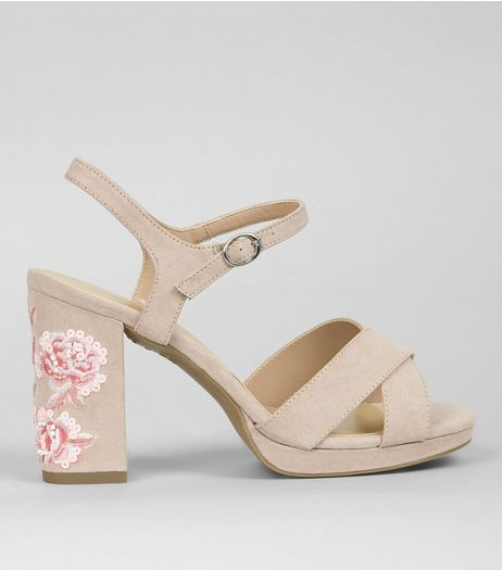 Wide Fit Nude Pink Floral Embroidered Block Heels | New Look