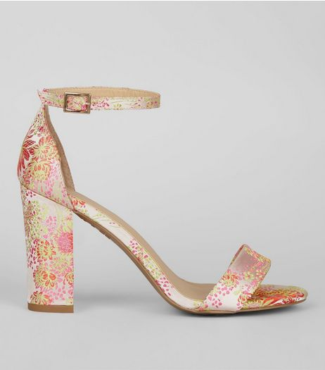 Pink Floral Brocade Ankle Strap Heels | New Look