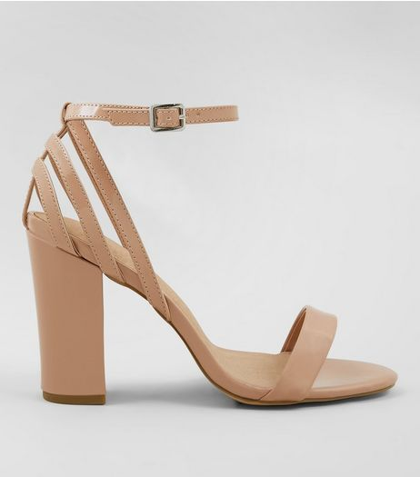 Nude Comfort Strappy Back Block Heels | New Look