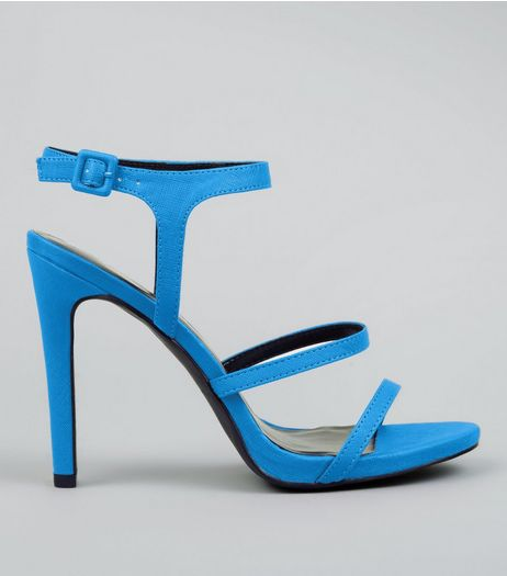 Neon Blue Ankle Strap Heeled Sandals | New Look