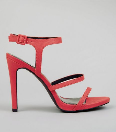 Neon Pink Ankle Strap Heeled Sandals | New Look