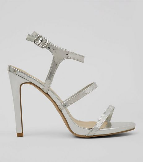 Silver Triple Strap Heeled Sandals | New Look