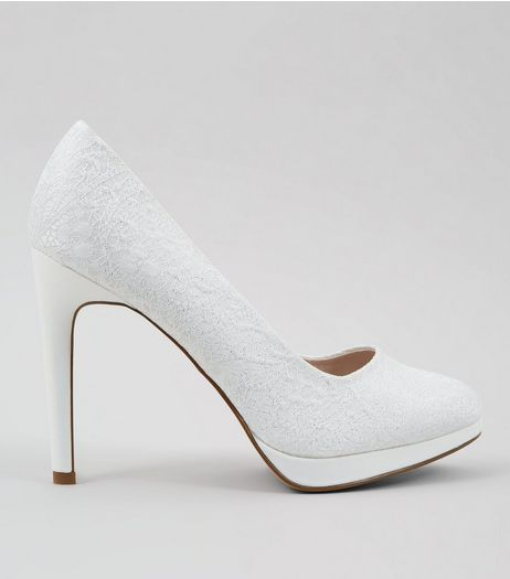 Ivory Lace Platform Court Shoes | New Look