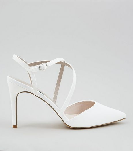 Ivory Sateen Cross Strap Pointed Heels | New Look