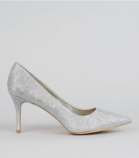 Silver Glitter Court Shoes | New Look