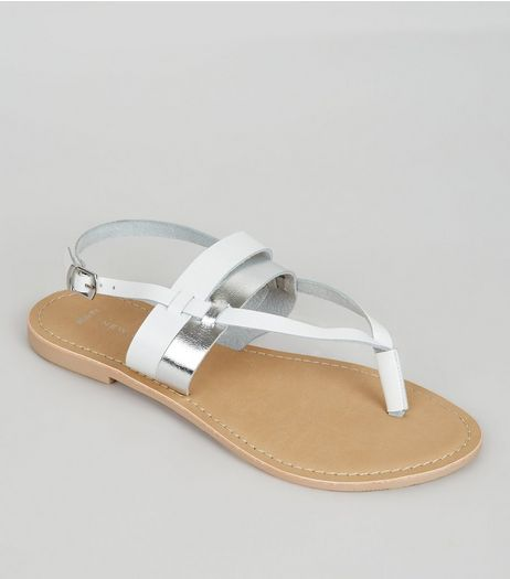 Wide Fit White Leather Metallic Strap Sandals | New Look