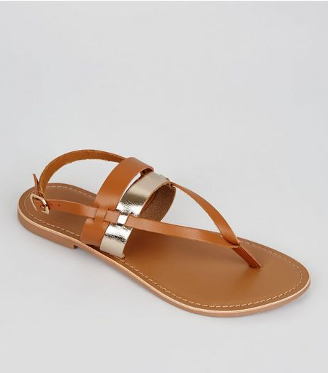 Wide Fit Tan Leather Metallic Strap Sandals | New Look