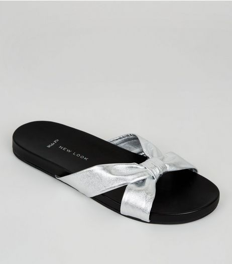 Wide Fit Silver Leather Bow Strap Mules | New Look
