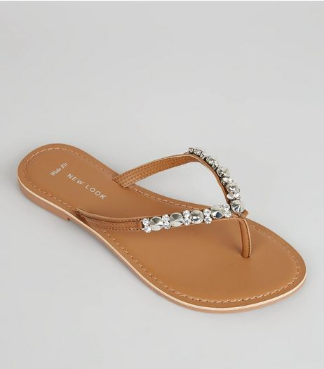 Wide Fit Tan Leather Embellished Flip Flops | New Look