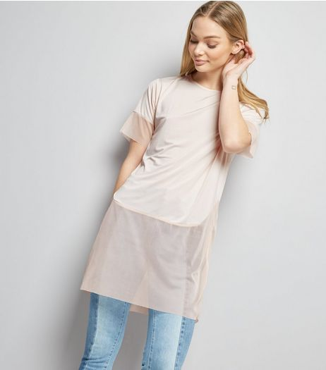 Carpe Diem Shell Pink Mesh Hem T-Shirt | New Look