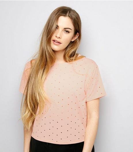 Carpe Diem Peach Cut Out Trim T-Shirt  | New Look