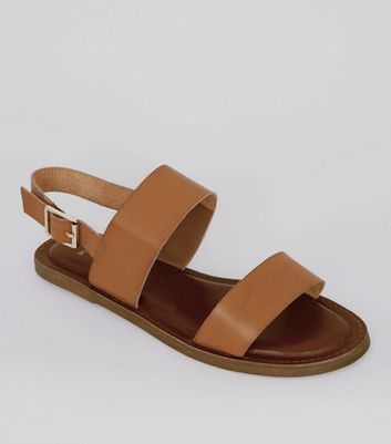 Wide Fit Tan Double Strap Sandals | New Look