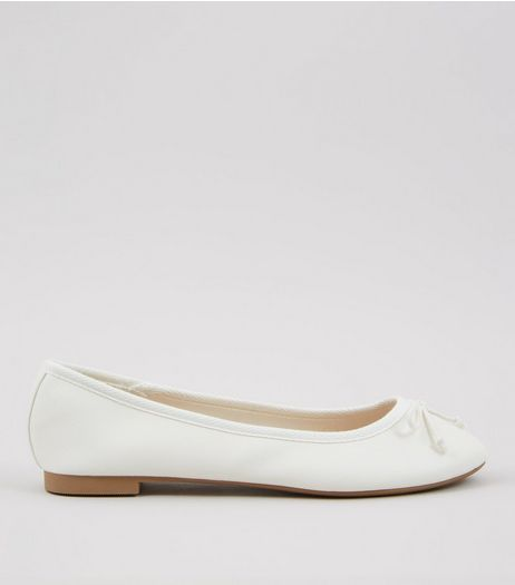 White Bow Front Ballet Pumps | New Look