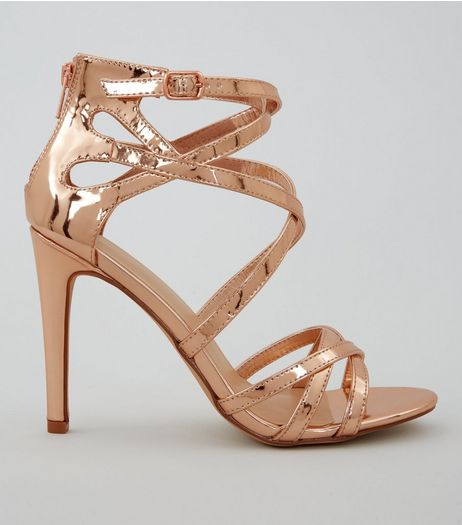 Wide Fit Rose Gold Metallic Strappy Heels | New Look