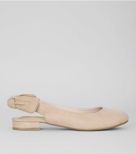 Wide Fit Nude Pink Suedette Sling Back Bow Pumps | New Look
