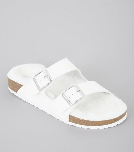 Wide Fit White Faux Fur Footbed Sandals | New Look