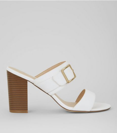 Wide Fit White Buckle Strap Heeled Mules | New Look