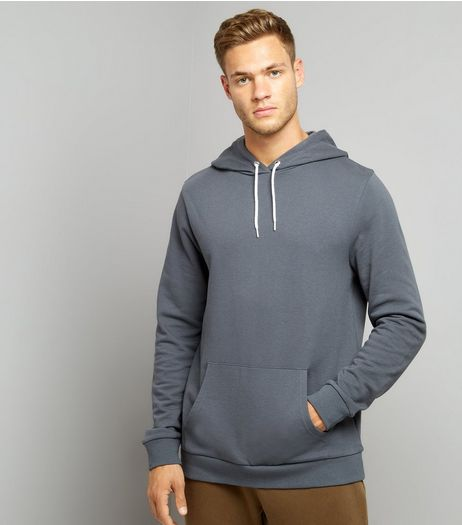 Dark Grey Pocket Front Hoodie | New Look